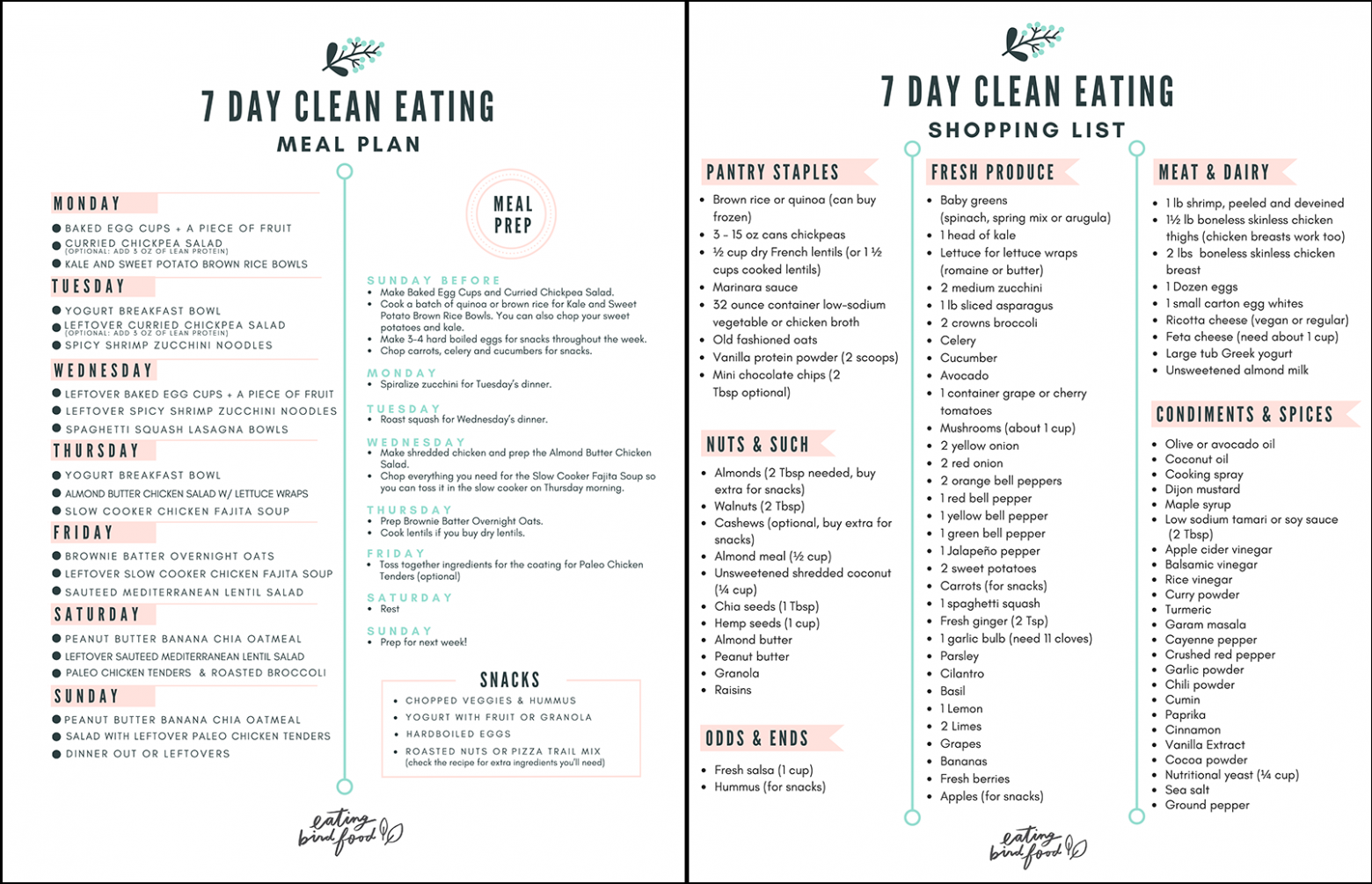 10 Day Healthy Meal Plan & Shopping List | Healthy diet ..