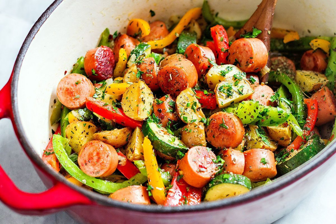 10 Minute Healthy Sausage And Veggies One Pot - Healthy Recipes Veggies