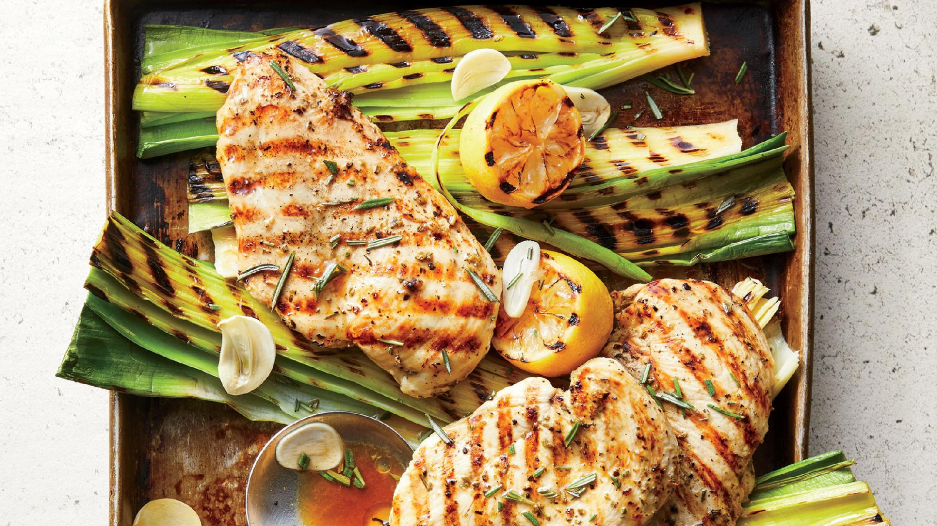 11 Minute Grilled Lemon Rosemary Chicken And Leeks - Rosemary Recipes Chicken