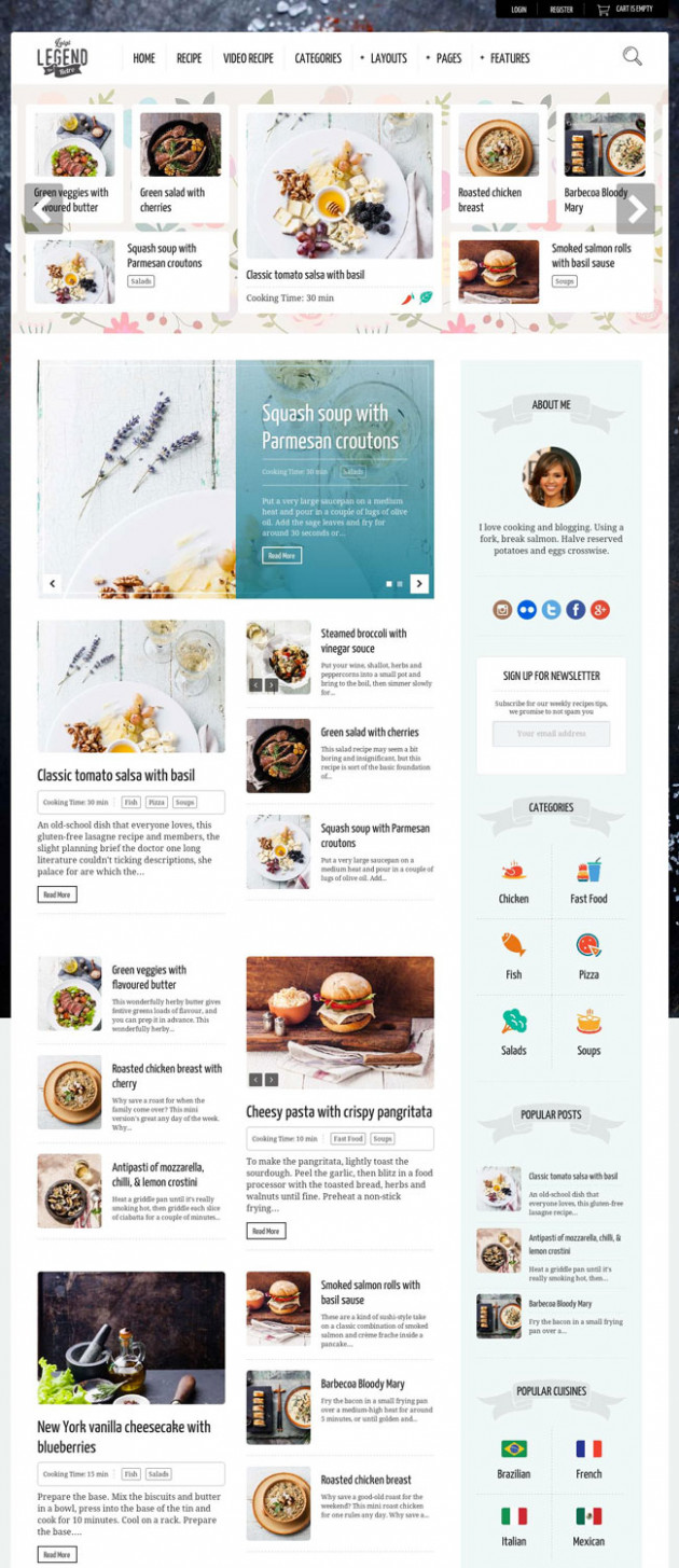 13+ Best Food and Recipe WordPress Themes 13 - DesignMaz - food recipes wordpress theme