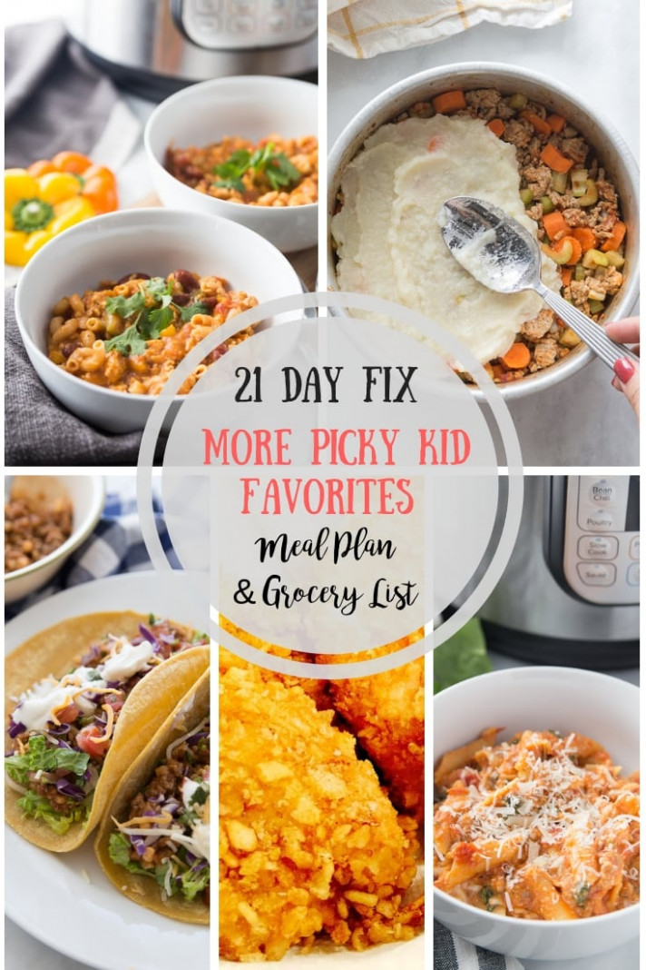 13 Day Fix Meal Plan & Grocery List 13 Picky Kid Approved - healthy recipes picky eaters