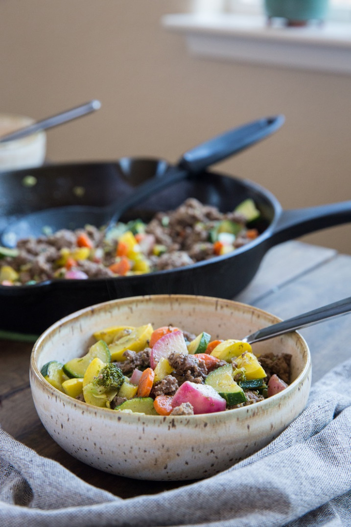 13-Minute Vegetable and Ground Beef Skillet - The Roasted Root - low carb ground beef recipes for dinner