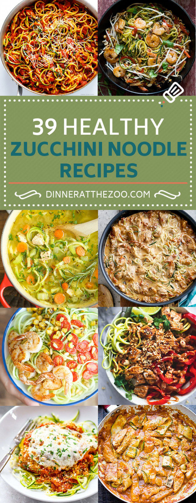 14 Healthy Zoodle (Zucchini Noodle) Recipes - Dinner at the Zoo - vegetarian recipes zoodles