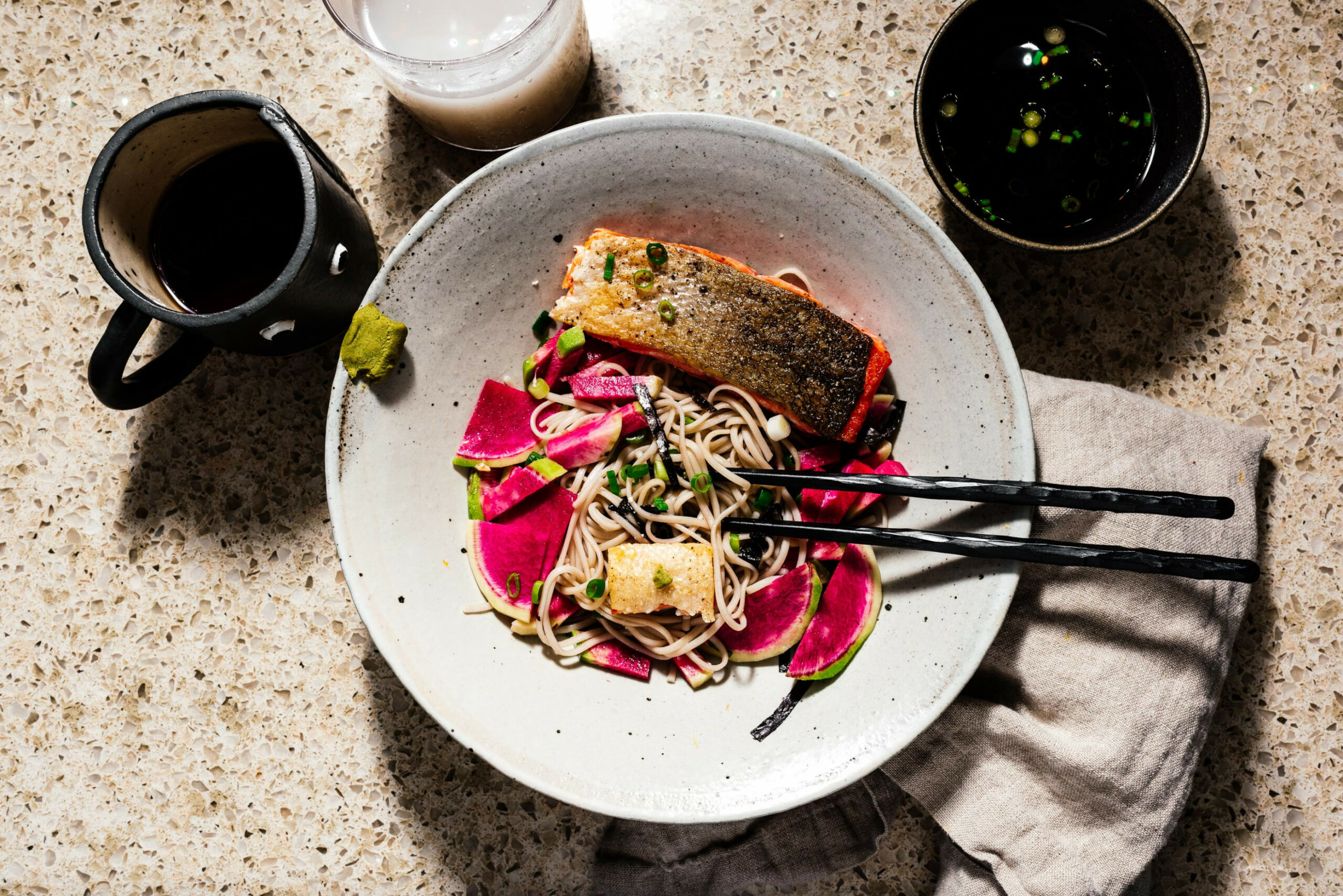 14 minute zaru soba with crispy salmon and quick pickled radishes recipe - dinner recipes blog