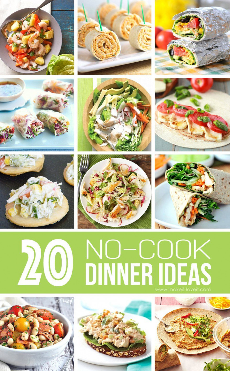 14 NO-COOK Dinner Ideas…great for summer! | Hot day dinners ..