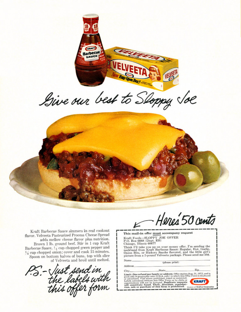 1972 Food Ad, Kraft Velveeta Cheese Spread & Barbecue Sauce, with Sloppy Joes Recipe - recipes using kraft dinner