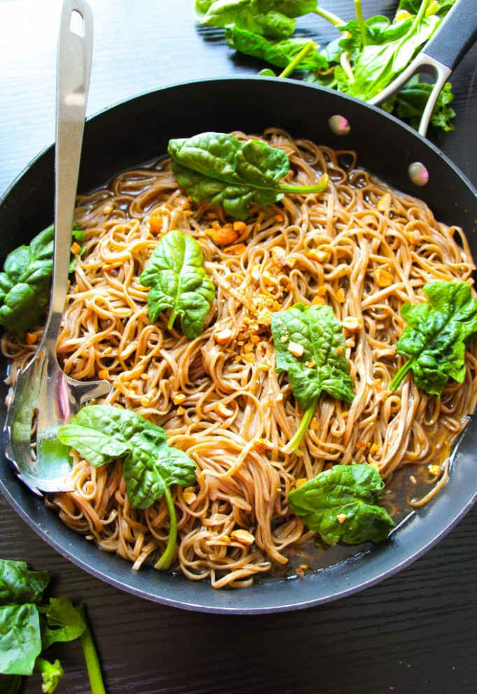 20-Minute Sticky Basil Thai Noodles - Layers of Happiness - recipes for thai food