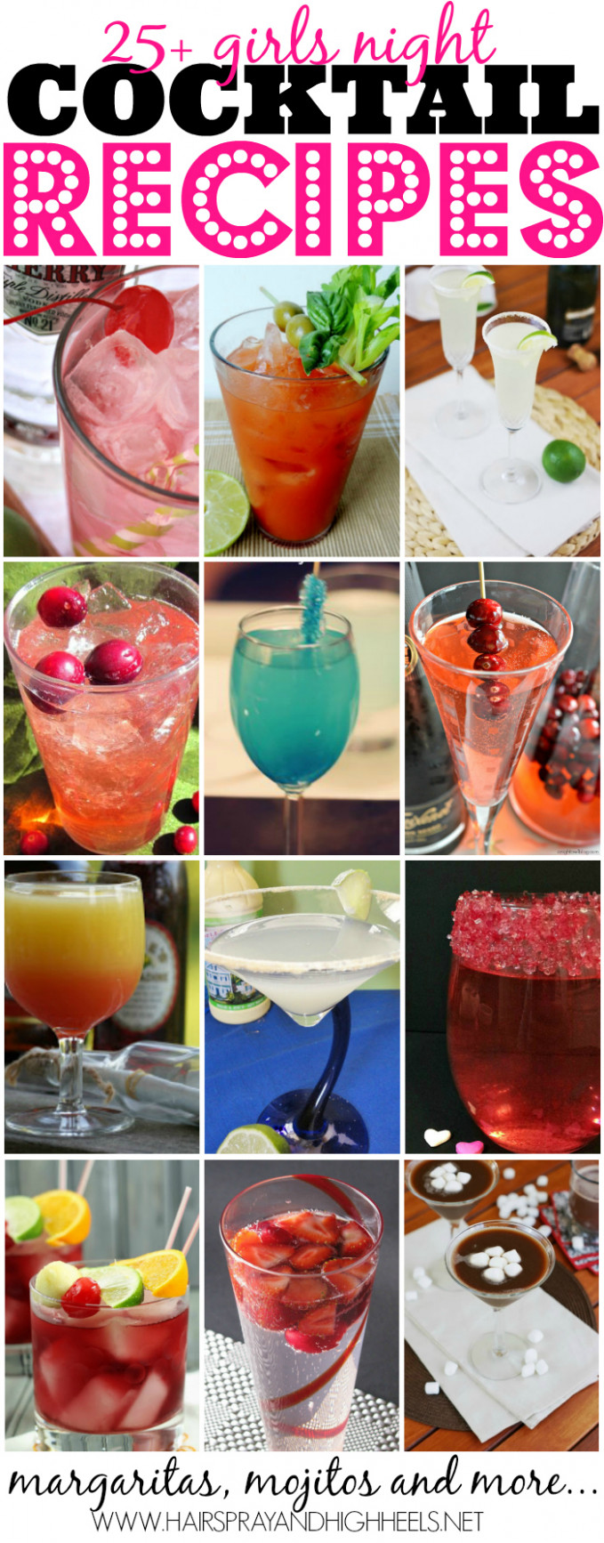 25 Girls Night Cocktail Recipes - Hairspray and Highheels - ladies night food recipes