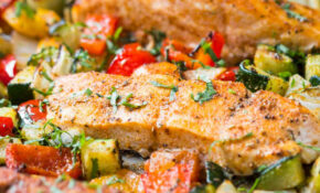 30 Min Healthy One Pan Baked Salmon And Vegetables