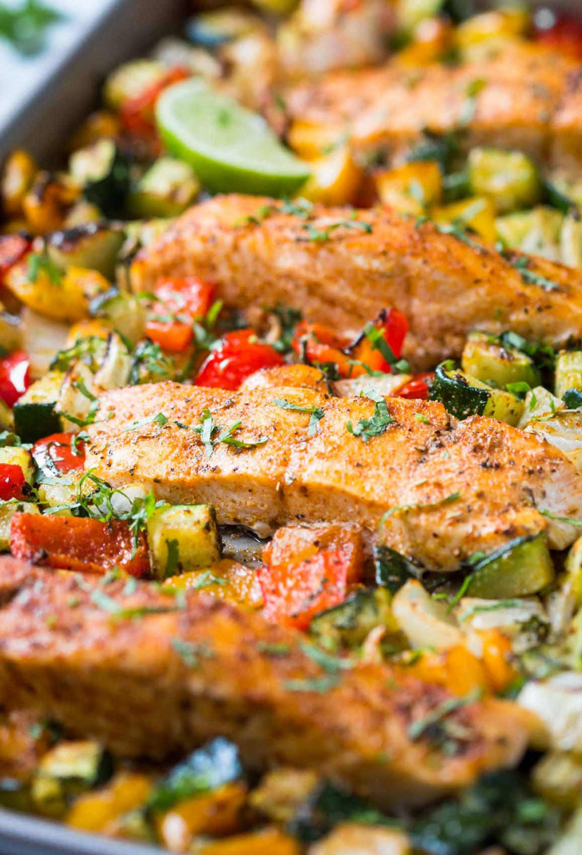 30 Min Healthy One Pan Baked Salmon And Vegetables - recipes for dinner veg