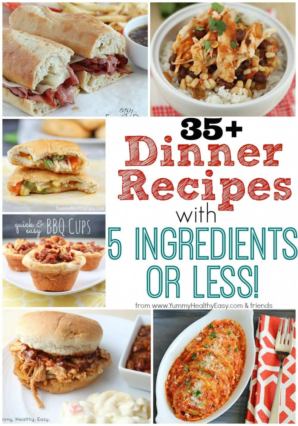 35+ Dinner Recipes with 5 Ingredients or Less! - Yummy ..