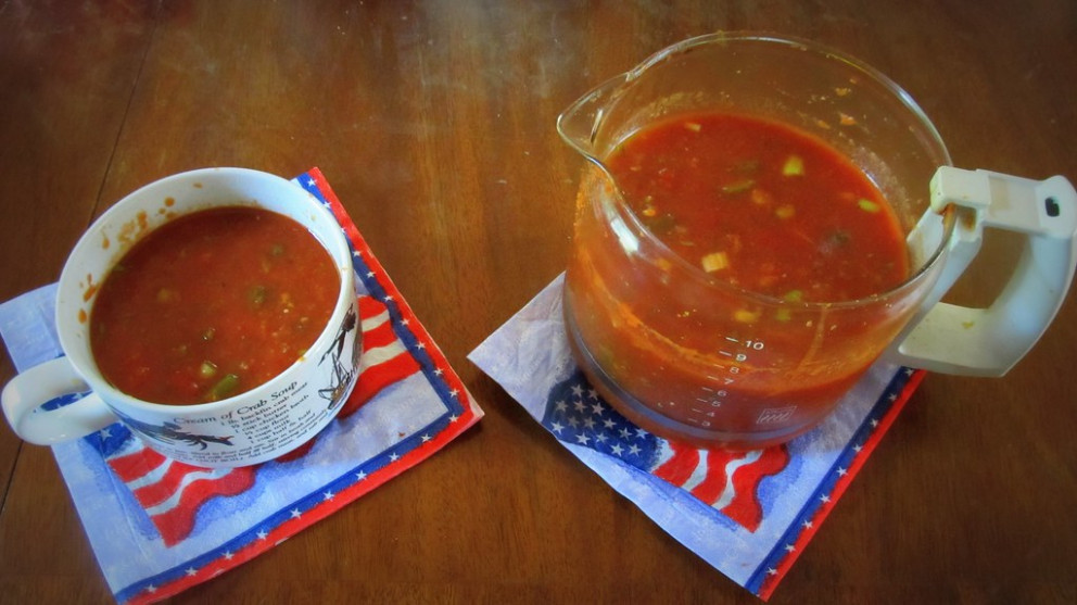 4th of July Gazpacho - recipe vegetarian worcestershire sauce