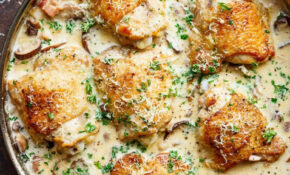 A thick and lightened up Creamy Parmesan Herb Chicken ...