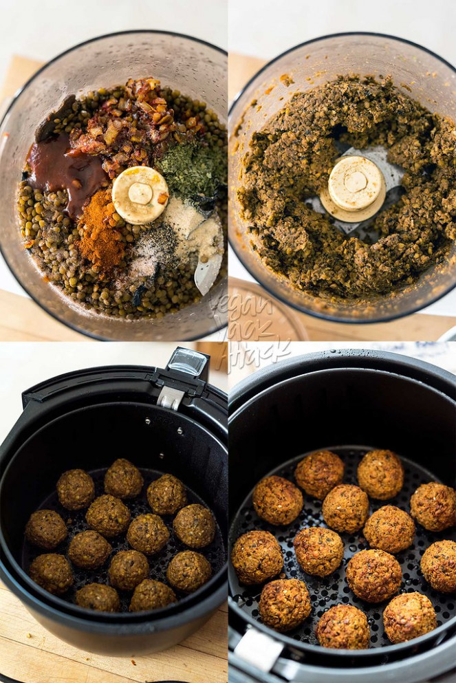 Air Fryer BBQ Lentil Meatballs - Recipes Air Fryer Dinner