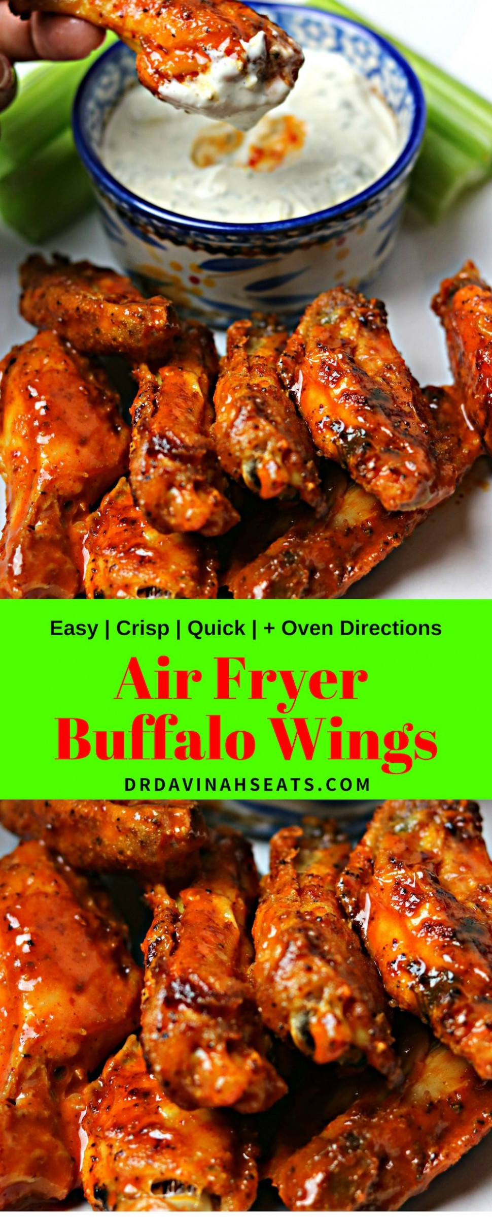 Air Fryer Buffalo Wings w/ Homemade Blue Cheese Dressing - air fryer recipes chicken wings