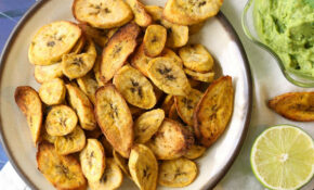 Air Fryer Plantain Chips With Creamy Guacamole – Easy Healthy Recipes Vegetarian
