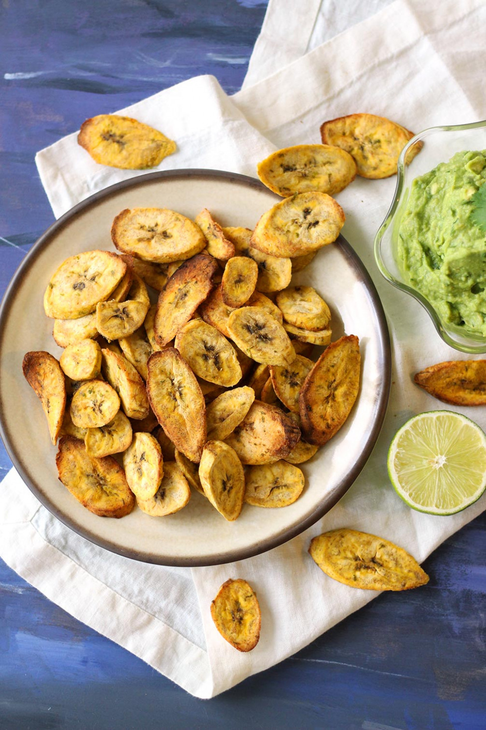 Air fryer Plantain Chips with Creamy Guacamole - easy healthy recipes vegetarian