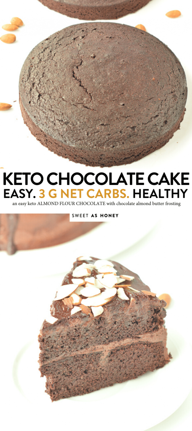 Almond flour chocolate cake - keto + paleo - Sweetashoney - healthy recipes keto chocolate cake