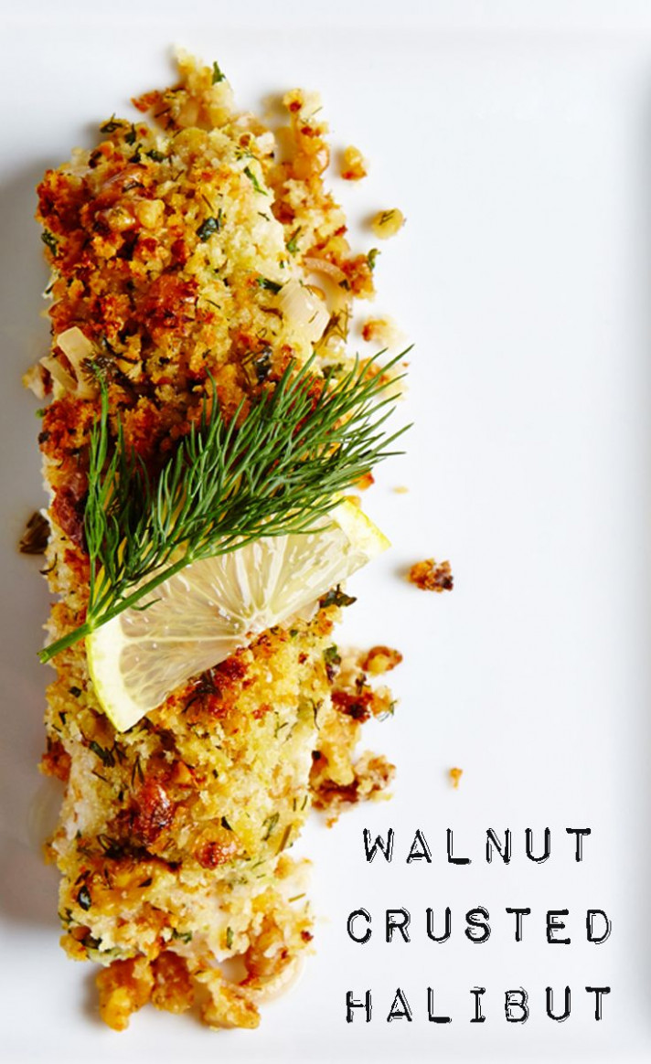 An amazingly easy and elegant Walnut Crusted Halibut recipe ..
