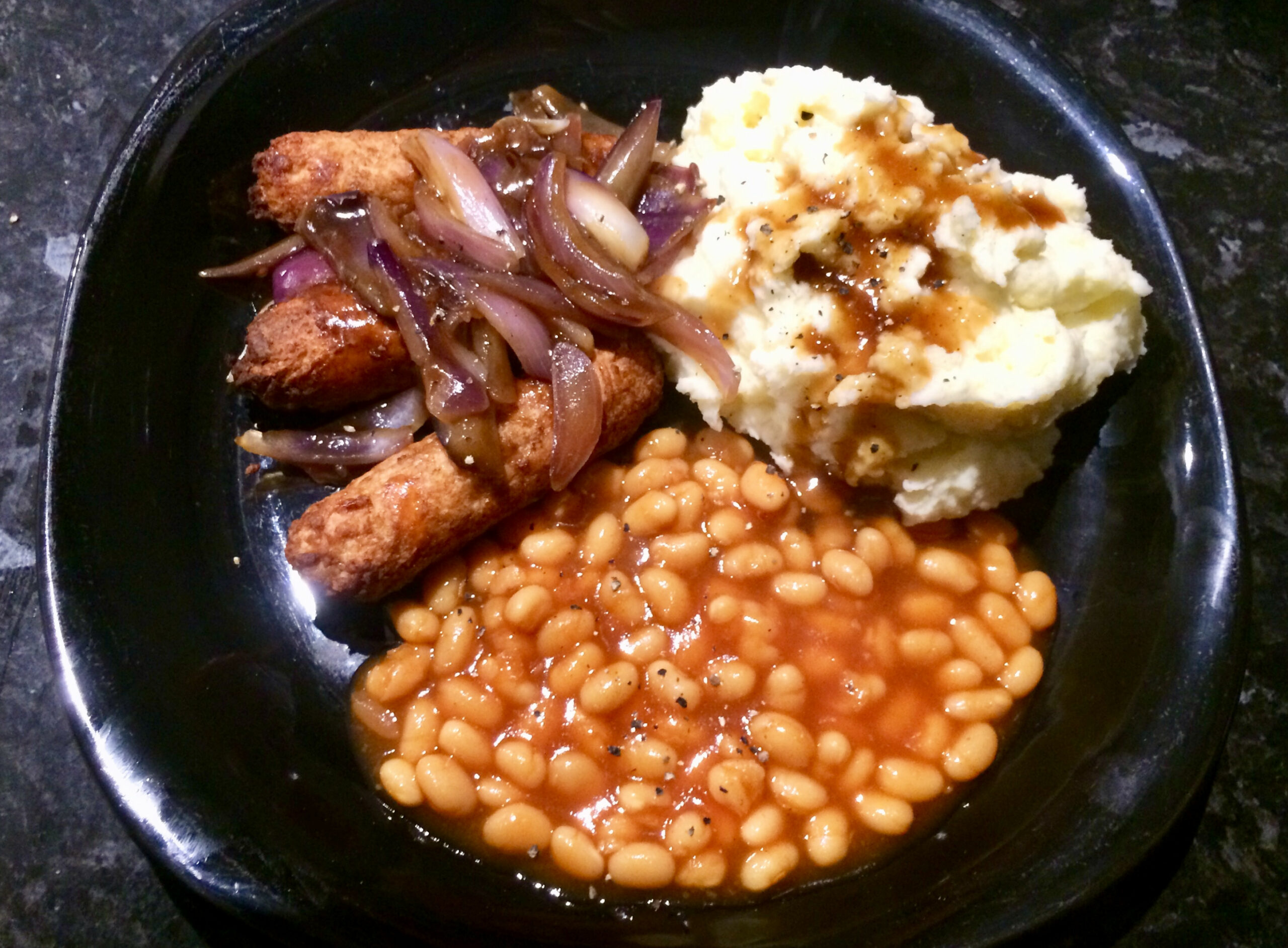 Another Veganised Classic!  Bangers 'n Mash With Onion Gravy ..