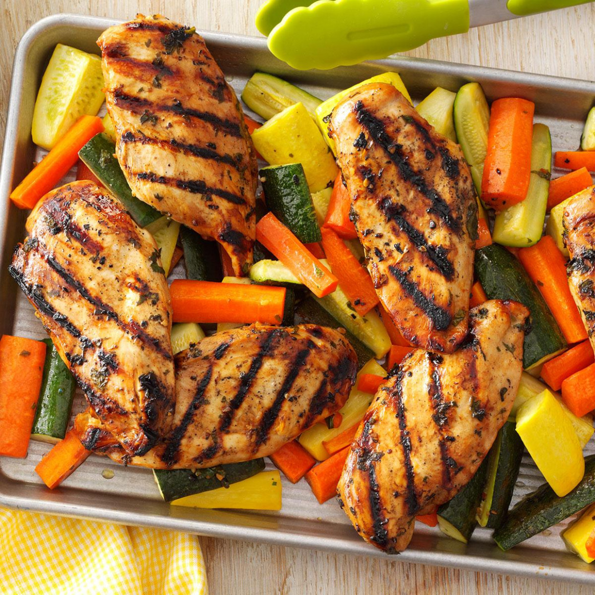 Apple-Marinated Chicken & Vegetables Recipe | Taste of Home - chicken and vegetable recipes
