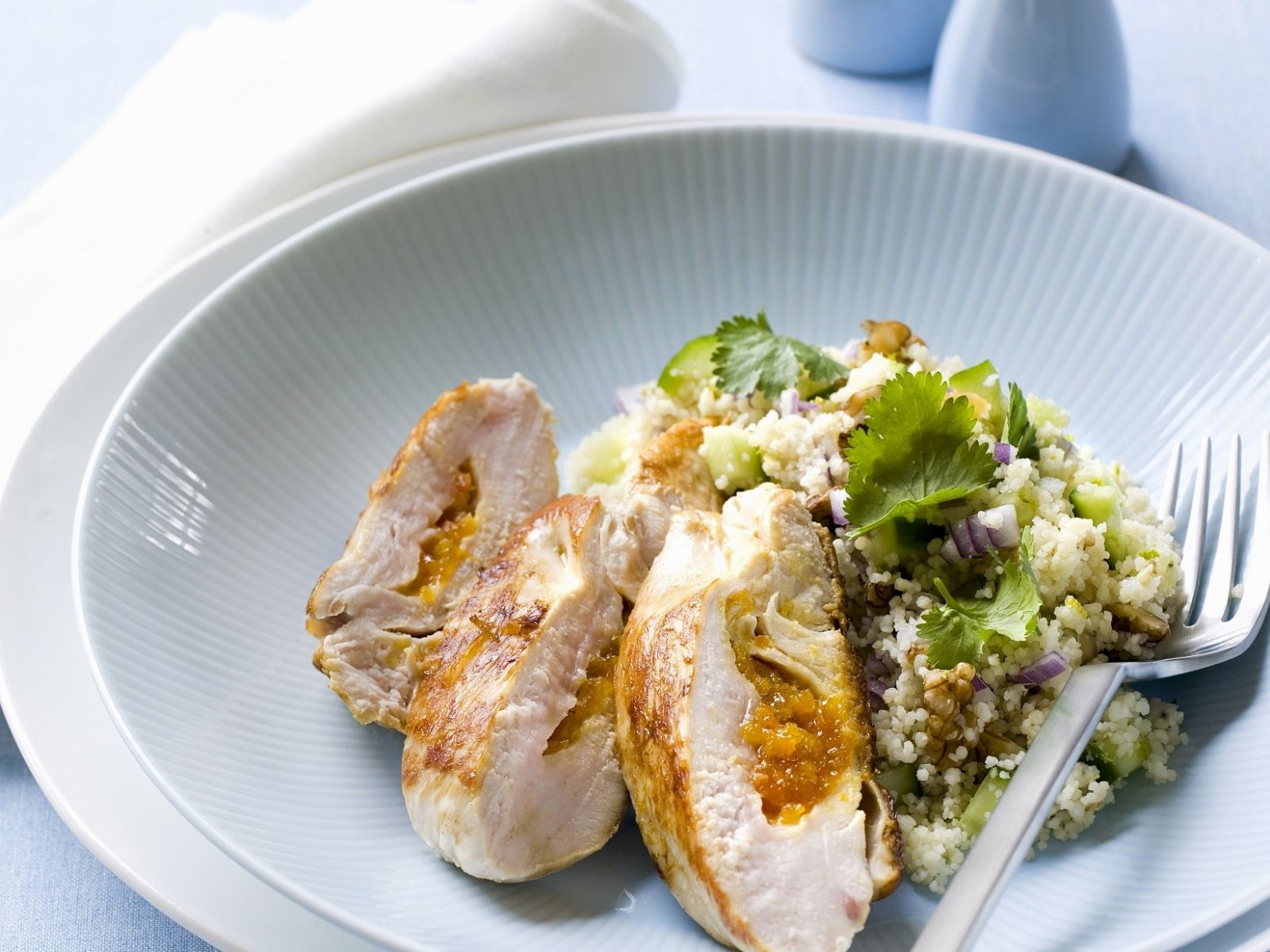 Apricot Stuffed Chicken Breast and Couscous - apricot recipes chicken