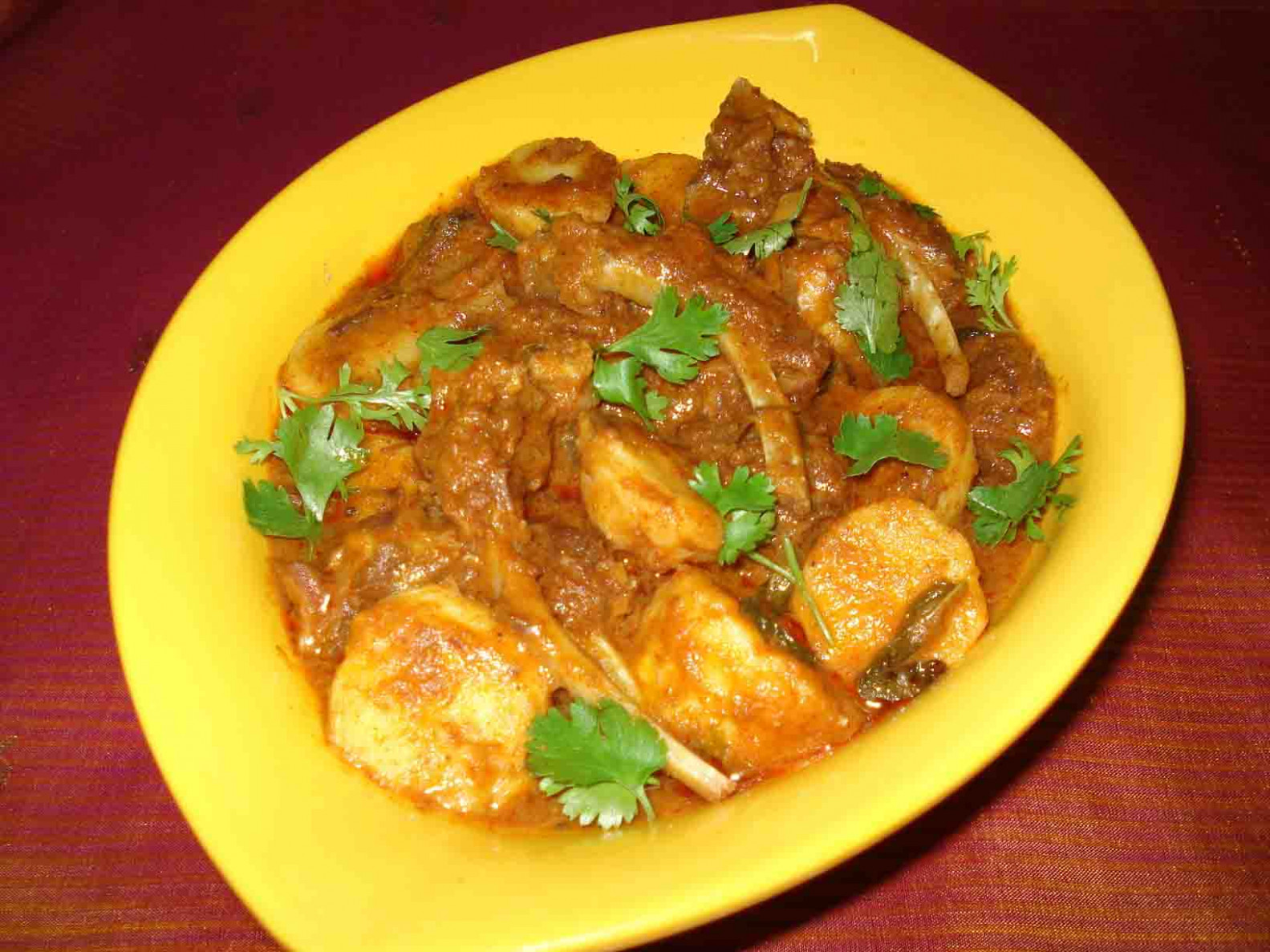 Arbi (Taro root / Colocasia) Lamb Curry - indian food recipes non-vegetarian