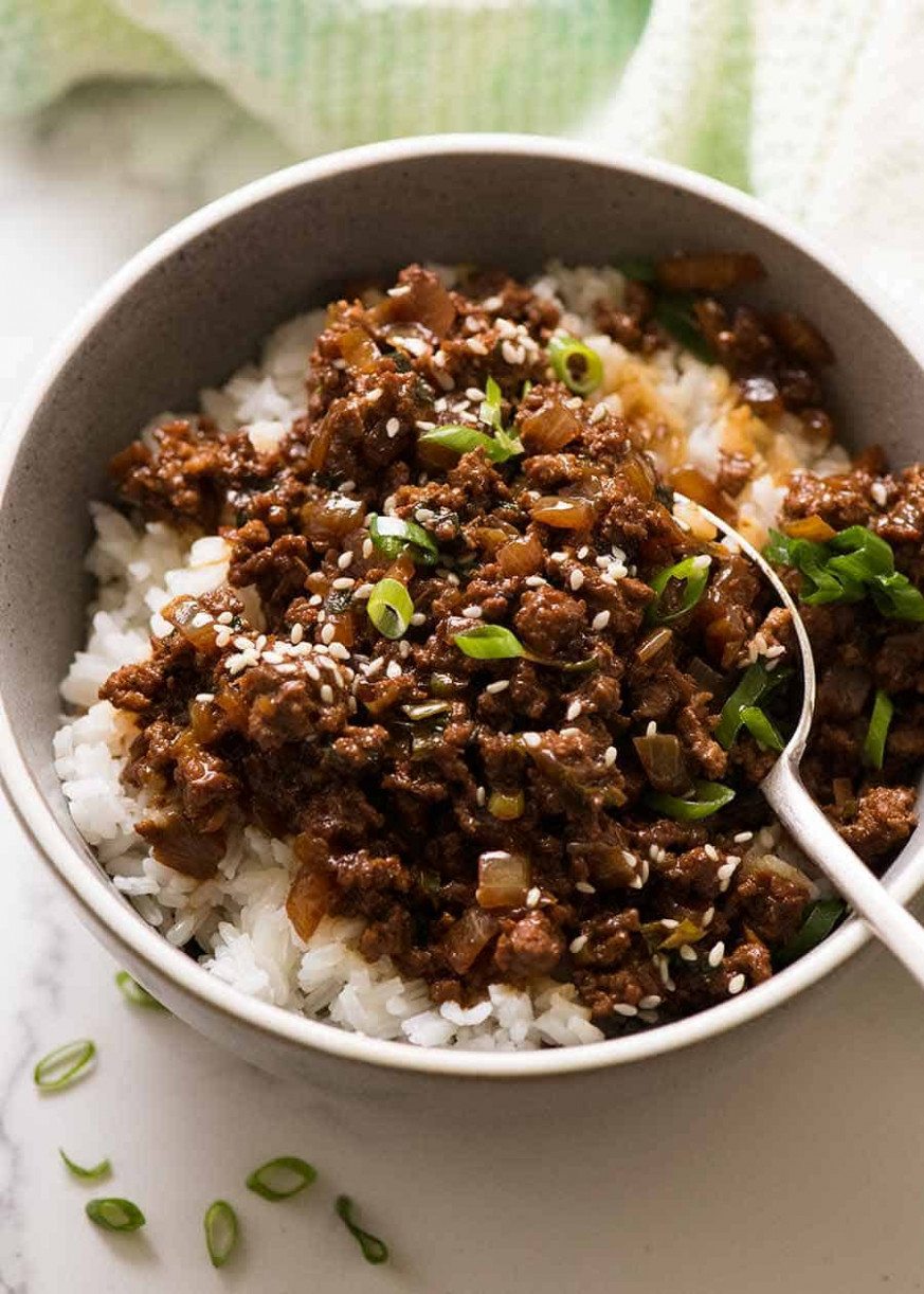 Asian Beef Bowls - Dinner Recipes Mince