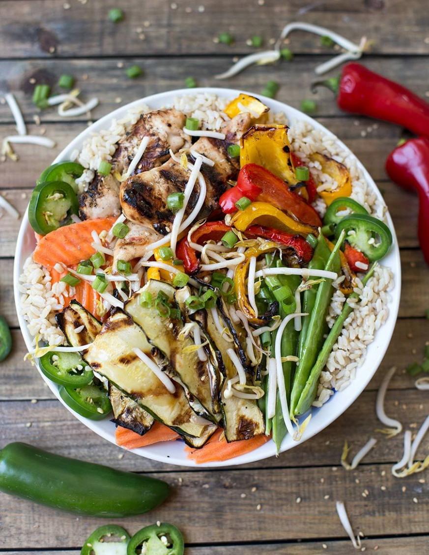 Asian Chicken Veggie Bowl - vegetarian recipes asian