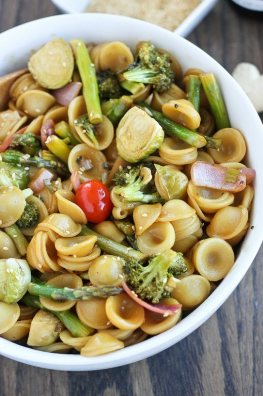 Asian Ginger Sesame Roasted Vegetable Pasta - japanese recipes vegetarian