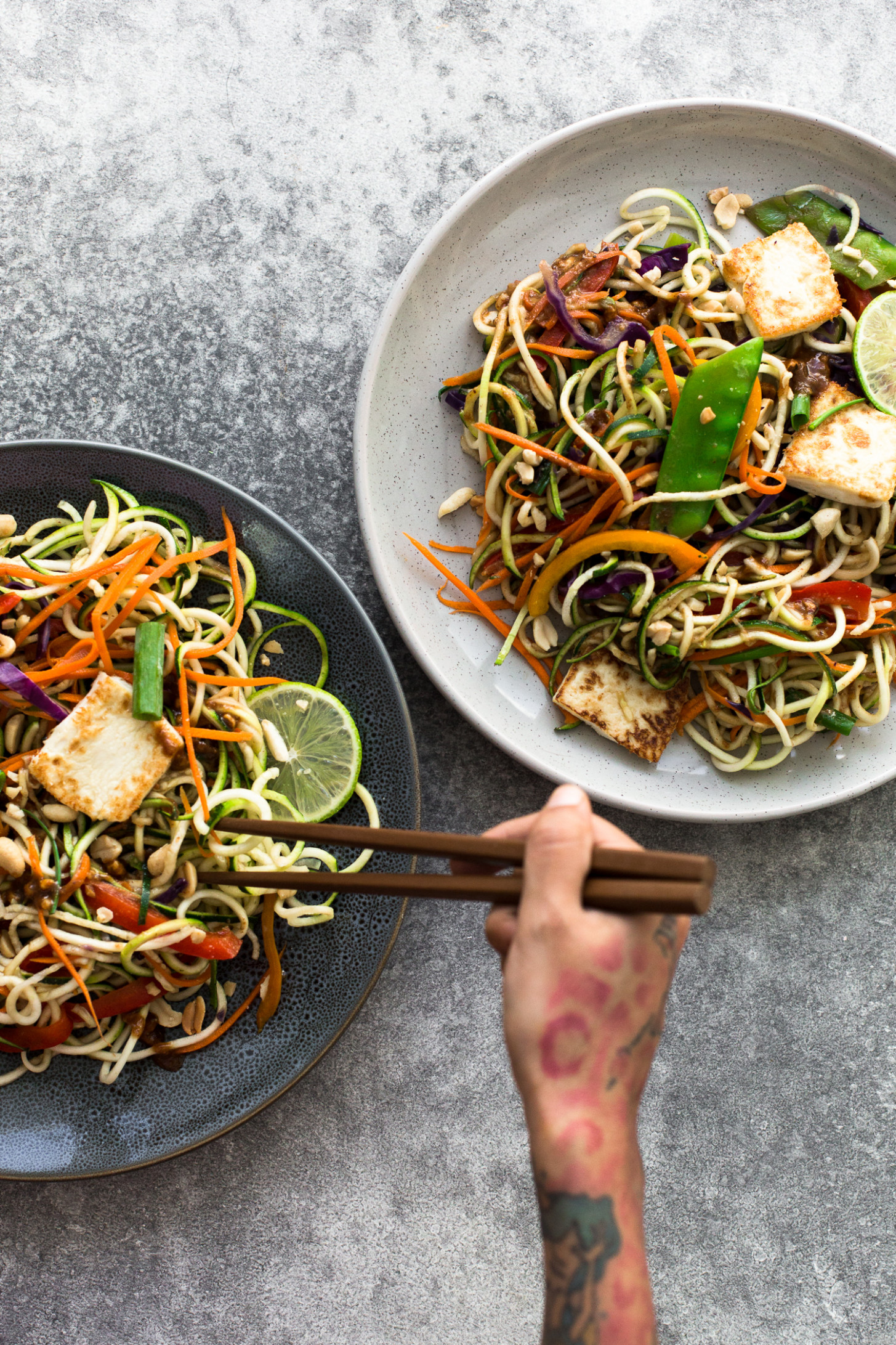 Asian Rainbow Zucchini Noodles with Fried Tofu - vegetarian recipes zoodles
