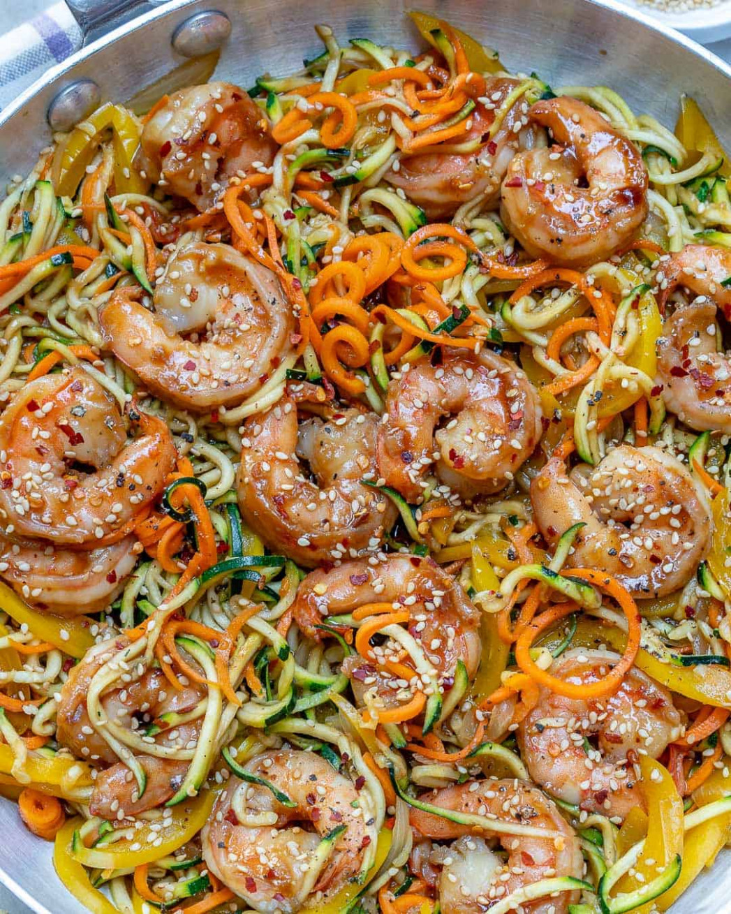 Asian Shrimp Zucchini Noodles Recipe | Healthy Fitness Meals - zucchini noodle recipes vegetarian