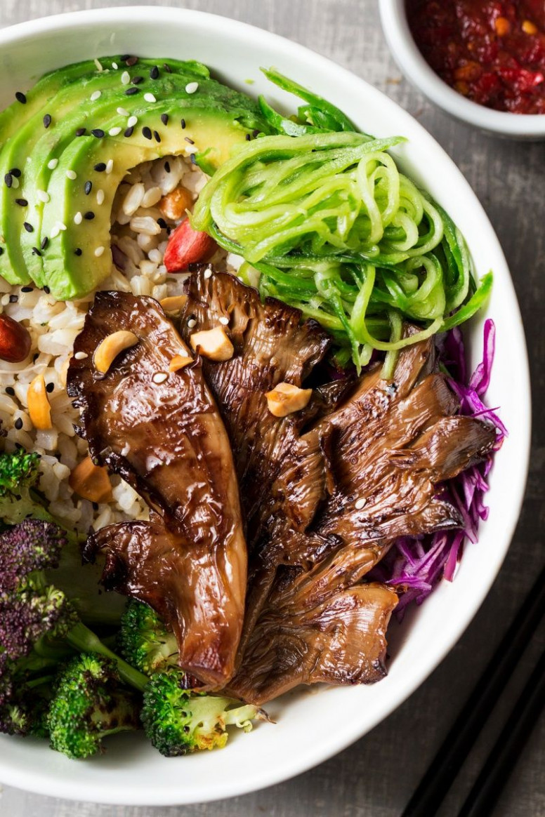 Asian Veggie Bowl With Oyster Mushrooms - Asian Vegetarian Recipes