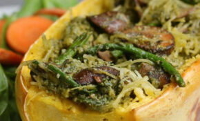 Asparagus And Mushroom Pesto Spaghetti Squash Recipe By Tasty – Spaghetti Squash Recipes Vegetarian
