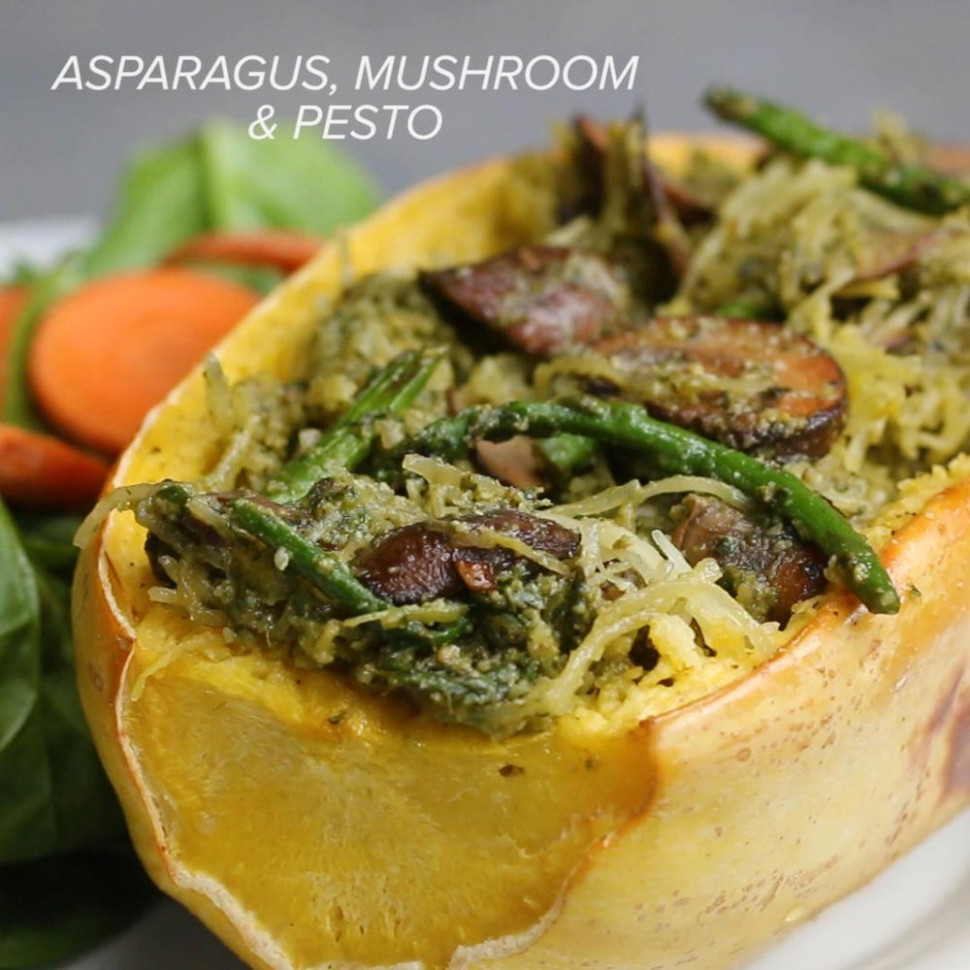 Asparagus And Mushroom Pesto Spaghetti Squash Recipe by Tasty - spaghetti squash recipes vegetarian