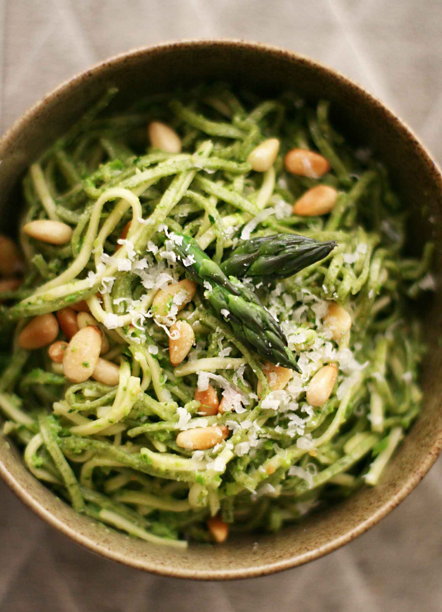 Asparagus Pesto with Pasta - olive recipes vegetarian