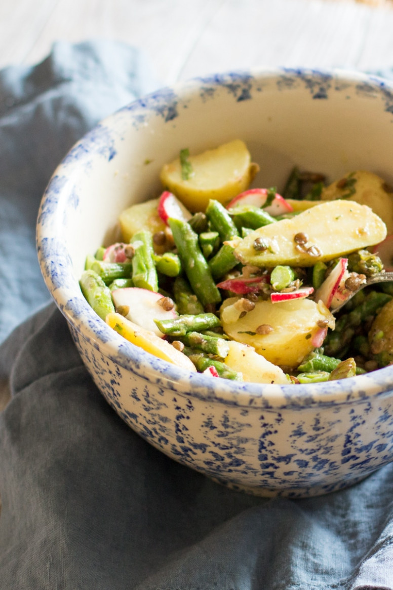 Asparagus, Potato, and Lentil Salad with Lemon Vinaigrette - vegetarian recipes asparagus
