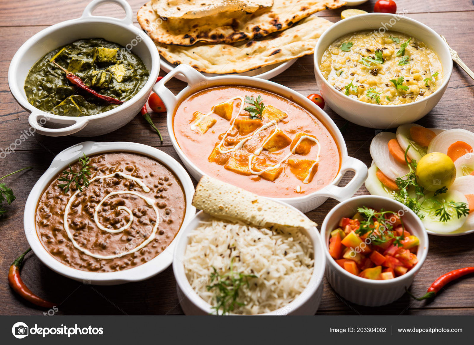 Assorted Indian Food Lunch Dinner Rice Lentils Paneer Dal ..