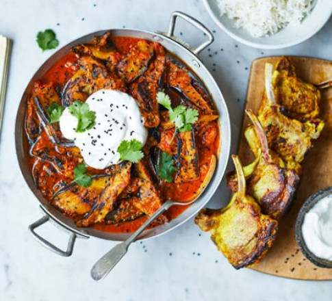 Aubergine curry with lamb cutlets recipe | BBC Good Food - vegetarian recipes aubergine