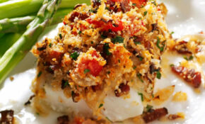 Bacon & Tomato Topped Haddock Recipe | Taste Of Home – Bacon Recipes Dinner