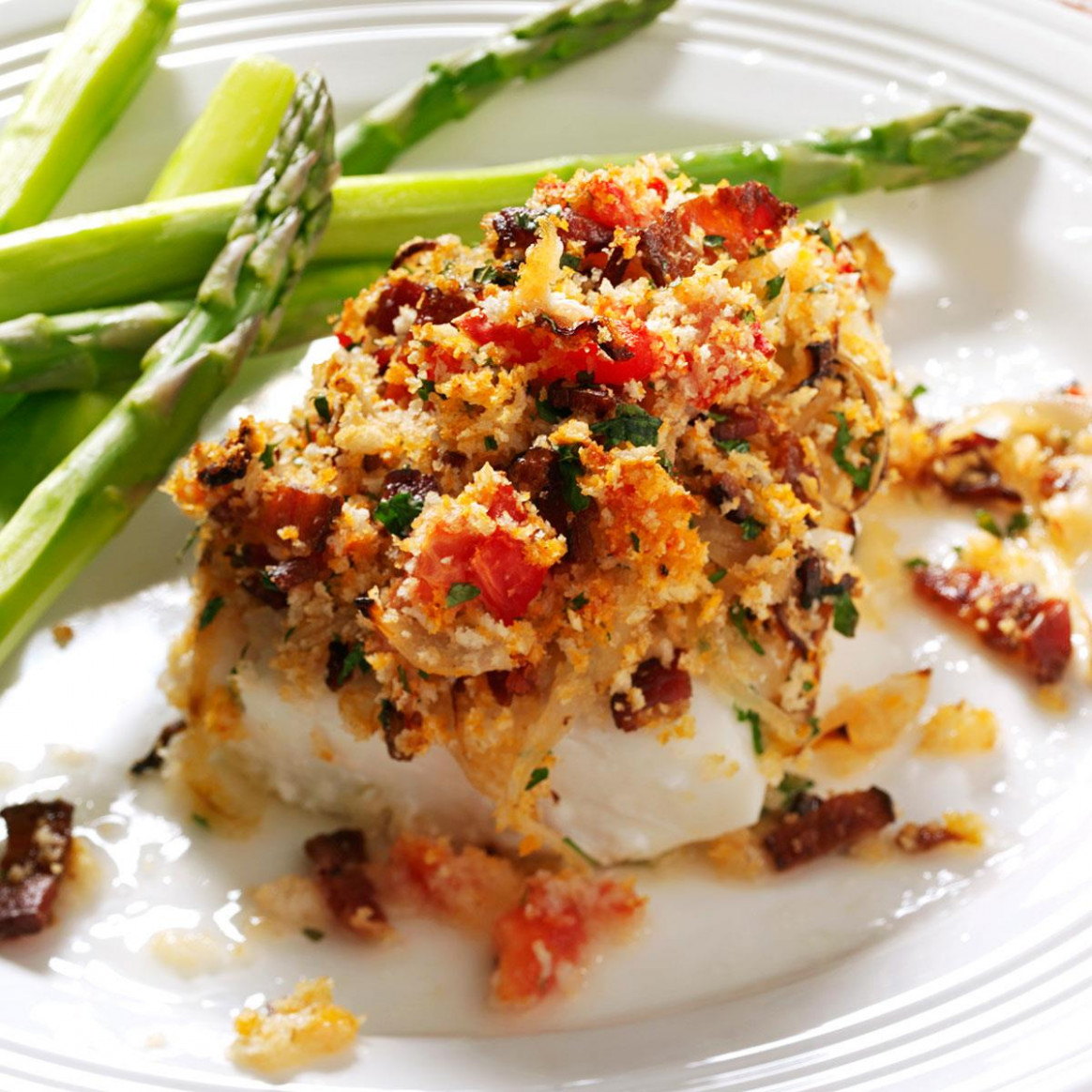 Bacon & Tomato-Topped Haddock Recipe | Taste of Home - bacon recipes dinner