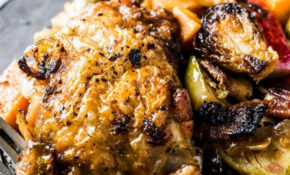 Bacon Apple Chicken With Sweet Potatoes And Brussels | The ..