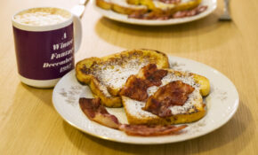 Bacon-topped French toast
