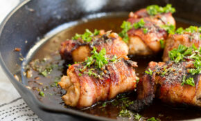 Bacon Wrapped Chicken Thighs With Apple Cider Pan Sauce – Recipes Using Chicken Thighs