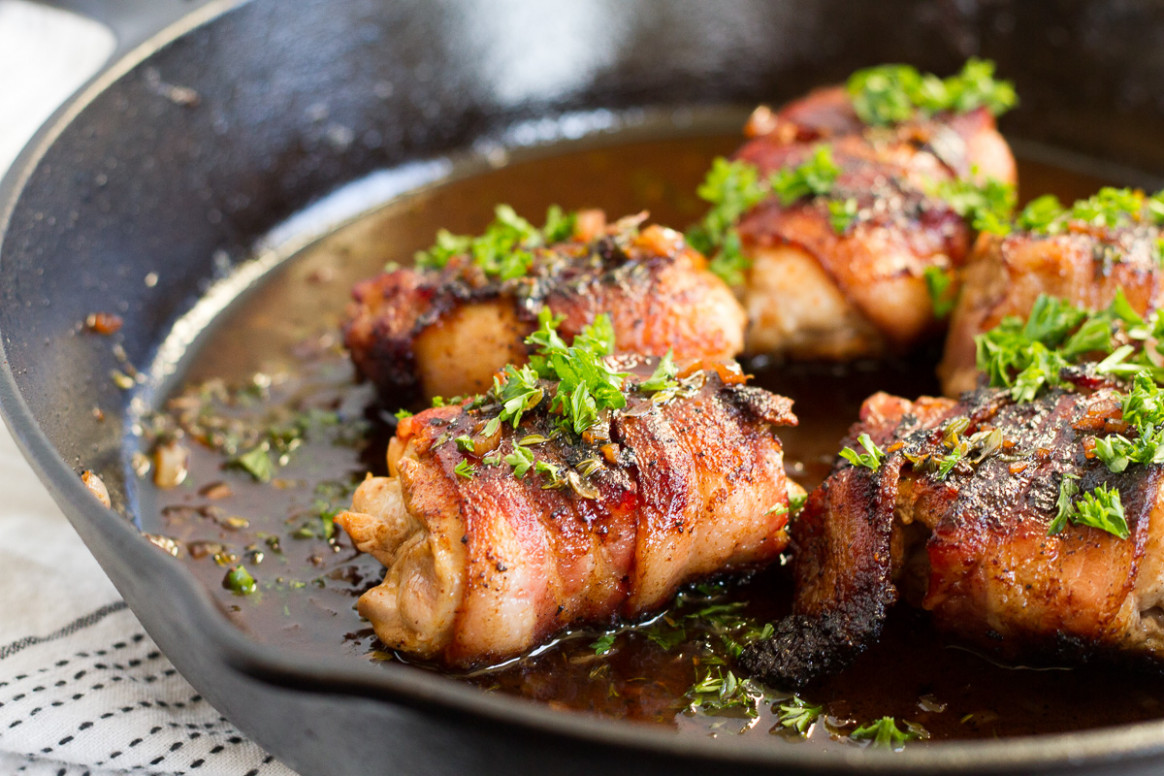 Bacon-Wrapped Chicken Thighs with Apple Cider Pan Sauce - recipes using chicken thighs