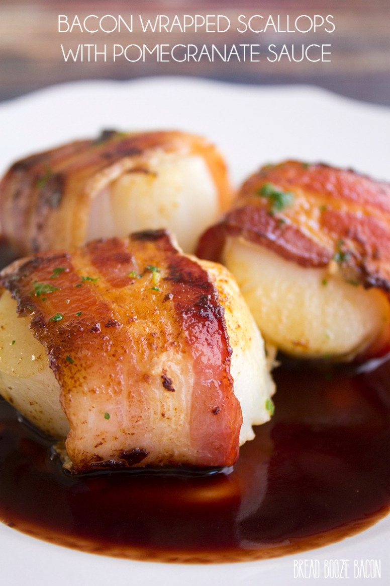 Bacon Wrapped Scallops Recipe With Pomegranate Sauce - Food Recipes Bacon