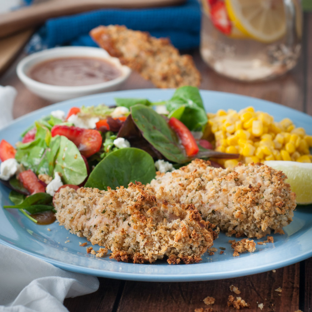 Baked buttermilk and panko chicken fingers - quick finger food recipes