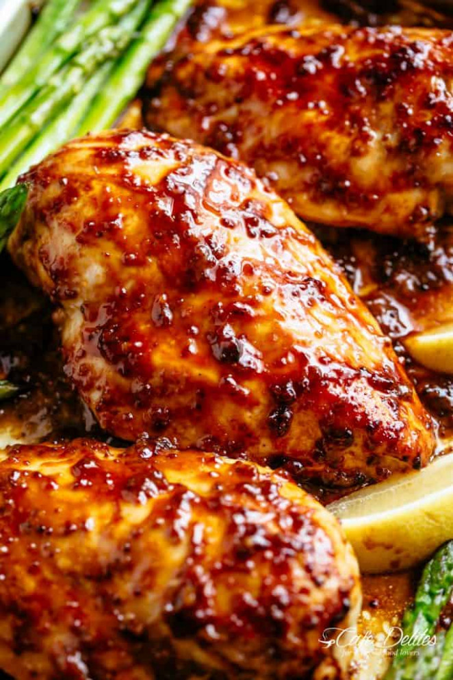Baked Chicken Breasts with Honey Mustard Sauce - Cafe Delites - chicken recipes juicy