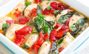 Baked Chicken Casserole with Basil and Roasted Peppers