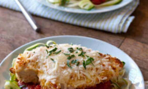 Baked Chicken Parmesan Over Zucchini Noodles - BetsyLife